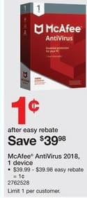 Staples Black Friday: McAfee AntiVirus 2018 for One Device for $0.01 after $39.97 rebate