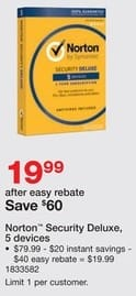 Staples Black Friday: Norton Security Deluxe for Five Devices for $19.99 after $40.00 rebate