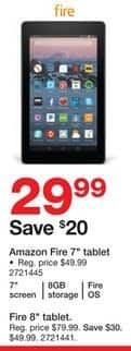 "Staples Black Friday: 8GB Amazon 7"" Fire Tablet for $29.99"