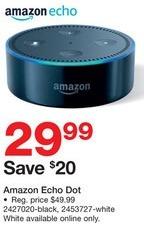 Staples Black Friday: Amazon Echo Dot for $29.99