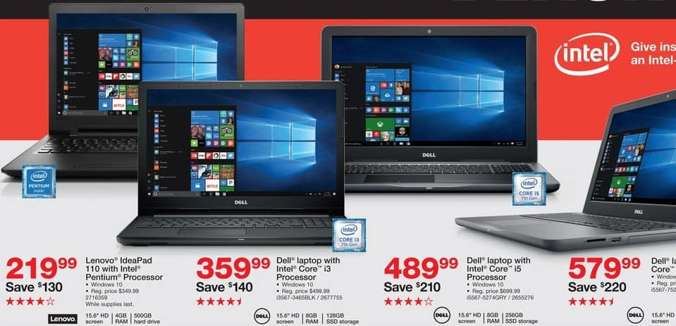 "Staples Black Friday: Dell 15.6"" Laptop: Intel Core i7, 256GB SSD, 8GB, Win 10 for $579.99"