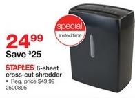 Staples Black Friday: Staples 6-sheet Shredder for $24.99