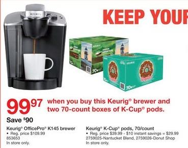 Staples Black Friday: Keurig OfficePro K145 Brewer and (2) Keurig K-Cup Pods, 70 Ct. for $99.97