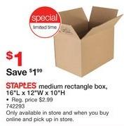 "Staples Black Friday: Staples Medium Rectangle Box, 16""L x 12""W x 10""H for $1.00"