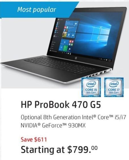 HP Black Friday: HP ProBook 470 G5 Laptop - starting at $674 after $125 rebate
