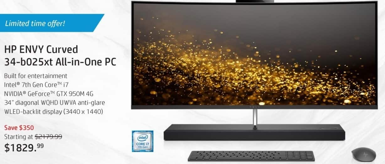 HP Black Friday: HP Envy Curved 34-b025xt All-In-One PC - starting at $1829.99