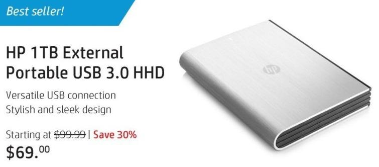 HP Black Friday: HP 1TB External Portable USB 3.0 Hard Drive for $69.00