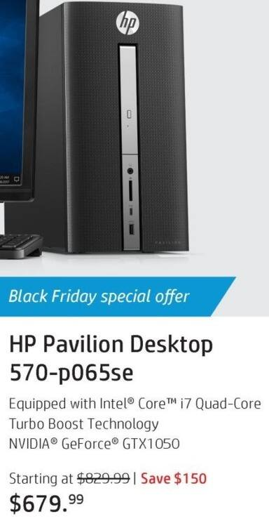 HP Black Friday: HP Pavilion 570-p065se Desktop: Intel i7 (7th Gen), 8GB RAM, 1TB HDD, Win 10 Home for $679.99