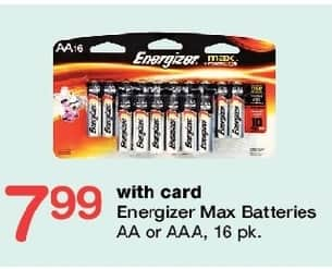 Walgreens Black Friday: Energizer Max AA or AAA Batteries, 16 pk w/Card for $7.99