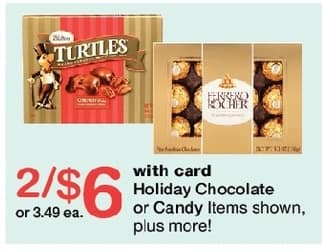 Walgreens Black Friday: (2) Holiday Chocolate or Candy, Select Items Including Turtles and Ferro Rocher, w/Card for $6.00