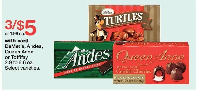 Walgreens Black Friday: (3) DeMet's, Andes, Queen Anne or Toffifay Candy, 2.- - 6.6 oz, Select Varieties, w/Card for $5.00