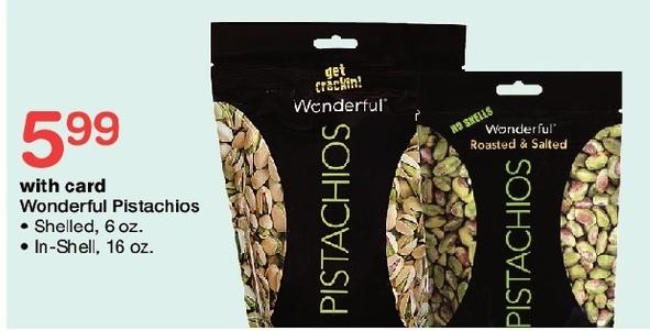 Walgreens Black Friday: Wonderful Pistachios, Shelled 6 oz or In-shell 16 oz w/Card for $5.99
