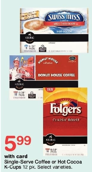 Walgreens Black Friday: Single-Serve Coffee or Hot Cocoa K-Cups, Select Varieties w/Card for $5.99