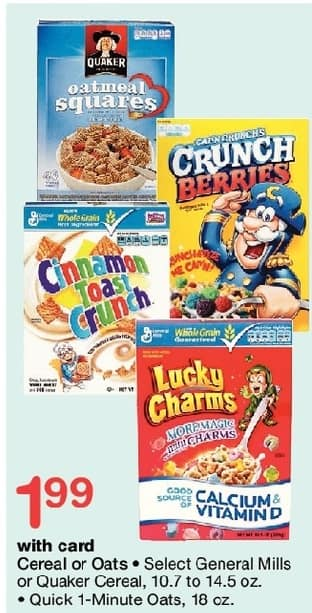 Walgreens Black Friday: General Mills Cereal or Quaker Cereal, 10.7 - 14.5 oz or Quick 1-Minute Oats 18 oz, w/Card for $1.99