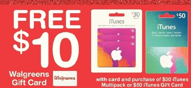 Walgreens Black Friday: $10 Walgreens Gift Card w/Purchase of iTunes $30 Multipack or $50 Gift Card, w/Card for Free