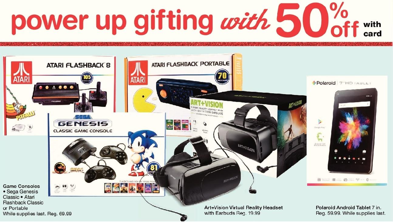 Walgreens Black Friday: Sega Genisis Classic, Atari Flashback Classic or Portable, w/Card - 50% Off