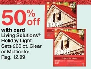 Walgreens Black Friday: Living Solutions Holiday Light Sets 200 ct, Clear or Multi, w/Card - 50% Off