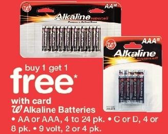 Walgreens Black Friday: W Alkaline Batteries: AA or AAA 4-24 pk, C or D, 4 or 8 pk, 9 Volt 2 or 4 pk, w/Card - B1G1 Free
