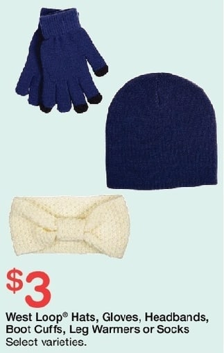 Walgreens Black Friday: West Loop Hats, Gloves, Headbands, Boot Cuffs, Leg Warmers or Socks, Select Styles, w/Card for $3.00