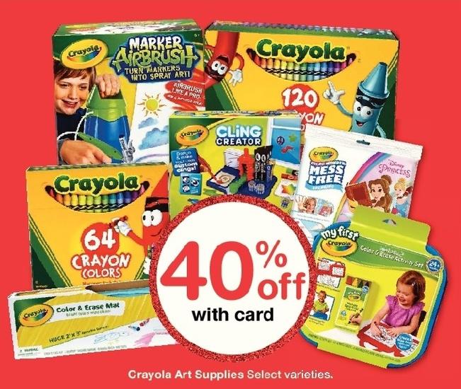 Walgreens Black Friday: Crayola Art Supplies, Select Varieties w/Card - 40% Off