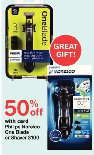 Walgreens Black Friday: Philips Norelco One Blade or Shaver 3100, w/Card - 50% Off