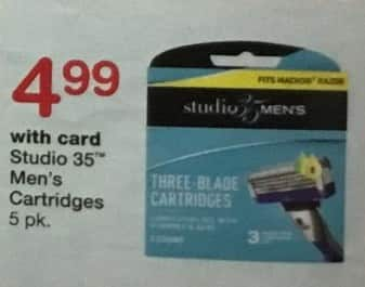 Walgreens Black Friday: Studio 35 Men's Cartridges 5-pk, w/Card for $4.99