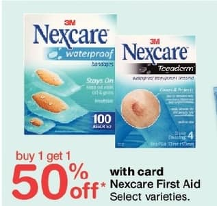 Walgreens Black Friday: Nexcare First Aid, Select Varieties, w/Card - B1G1 50% Off