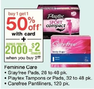 Walgreens Black Friday: Stayfree Pads 28-48 pk, Playtex Tampons or Pads, 32-48 pk, Carefree Pantilines 120 pk + $2 Rewards Points, w/Card - B1G1 50% Off