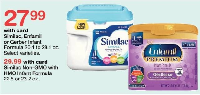 Walgreens Black Friday: Similac Non-GMO with HMO Infant Formula 22.5-23.2 oz, w/Card for $29.99