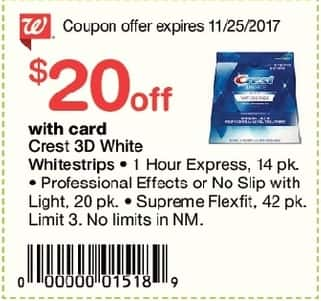 Walgreens Black Friday: Crest 3D Whitestrips: 1 Hour Express 14 pk, Professional Effects or No Slip with Light and More, w/Card and Coupon - $20 Off
