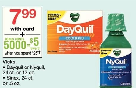 Walgreens Black Friday: Vicks Dayquil or Nyquil 24 ct or 12 oz, or Sinex 24 ct or .5 oz + $5 Reward Points, w/Card for $7.99