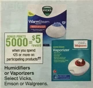 Walgreens Black Friday: Spend $25 on Select Humidifiers or Vaporizers from Vicks, Emson or Walgreens, w/Card - earn $25 Reward Points