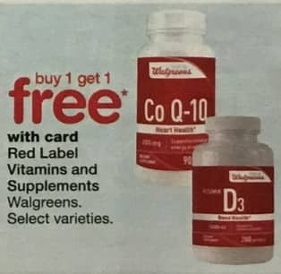 Walgreens Black Friday: Red Label Vitamins and Supplements, Select Varieties w/Card - B1G1 Free