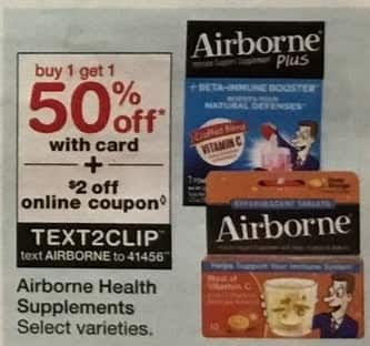 Walgreens Black Friday: Airborne Health Supplements, Select Varieties, w/Card and Coupon - B1G1 50% Off