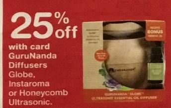 Walgreens Black Friday: GuruNanda Diffusers Globe, Instaroma or Honeycomb Ultrasonic, w/Card - 25% Off