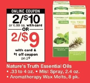 Walgreens Black Friday: (2) Nature's Truth Essential Oils .33 to 4oz, Mist Spray 2.4 oz or Aromatherapy Wax Melts 8 pk, w/Card and Coupon for $9.00