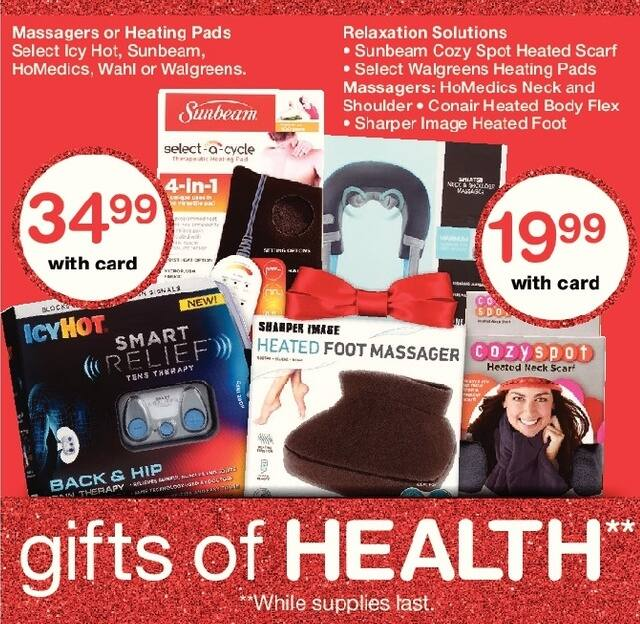Walgreens Black Friday: Heating Pad or Massagers from Icy Hot, Sunbeam, HoMedics, Wahl or Walgreens, Select Varieties, w/Card for $34.99