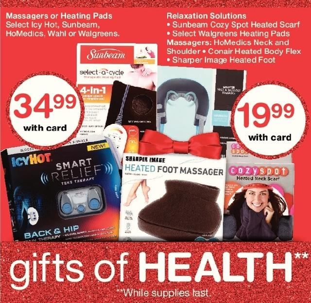 Walgreens Black Friday: Sunbeam Heated Scarf, Walgreens Heating Pads, Conair Heated Body Flex and More, w/Card for $19.99