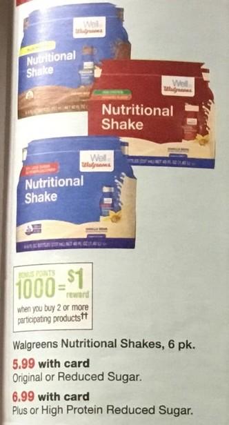 Walgreens Black Friday: Walgreens Nutritional Shakes, 6 pk, Orginal or Reduced Sugar, or Plus or High Protein Reduced Sugar + $1 Rewards Points, w/Card for $5.99 - $6.99