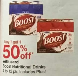 Walgreens Black Friday: Boost Natural Drinks 4-12 pk, includes Plus!, w/Card - B1G1 50% Off
