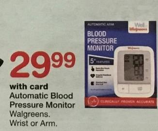 Walgreens Black Friday: Walgreens Automatic Blood Pressure Monitor, Wrist or Arm, w/Card for $29.99