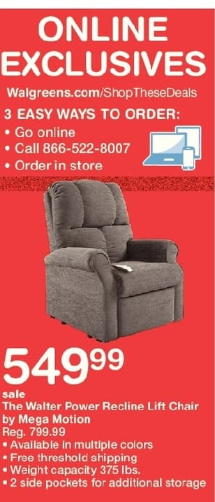 Walgreens Black Friday: Walter Power Recline Lift Chair By Mega Motion,  W/Card
