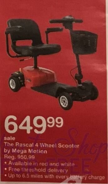 Walgreens Black Friday: Rascal 4 Wheel Scooter by Mega Motion, w/Card for $649.99