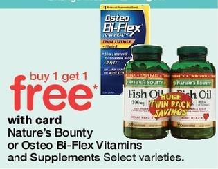 Walgreens Black Friday: Nature's Bounty or Osteo Bi-Flex Vitamins and Supplements, Select Varieties - B1G1 Free