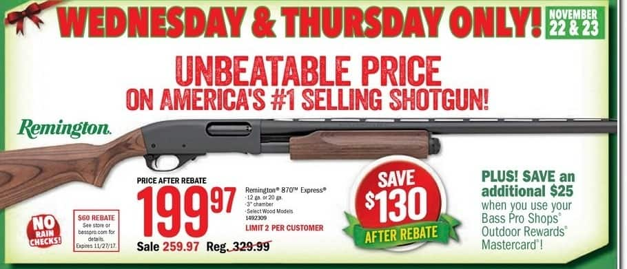 Bass Pro Shops Black Friday: Remington 870 Express, Select Wood Models + $25 Rewards for $199.97 after $60.00 rebate
