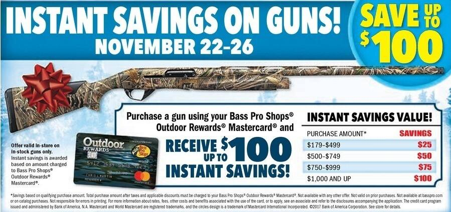 Bass Pro Shops Black Friday: Any Gun Purchase w/Rewards Mastercard - Up to $100 Instant Savings