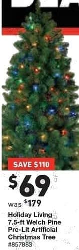 Lowe's Black Friday: 7.5ft Holiday Living Welch Pine Pre-Lit Artificial Christmas Tree for $69.00