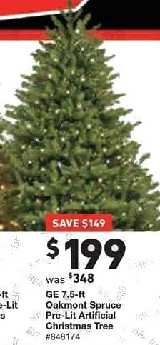 Lowe S Black Friday 7 5ft Ge Oakmont Spruce Pre Lit Artificial