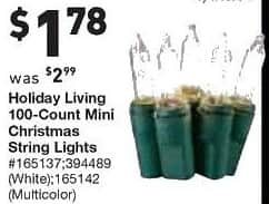 Lowe's Black Friday: Holiday Living 100 Count Mini Christmas String Lights, in White or Multicolor for $1.78