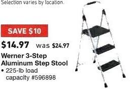 Lowe's Black Friday: Werner 3 Step Aluminum Step Stool, 225 lb Load Capacity for $14.97